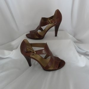 Worthington Heels 9M Brown Leather Open Toe Shoes